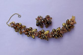 D&E Juliana Foiled Gold Cats Eye Rhinestones Bracelet Earrings Set Crystal Beads