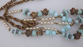 Early MIRIAM HASKELL Pearls Glass Large Bib Necklace Crown Filigree Bead Caps