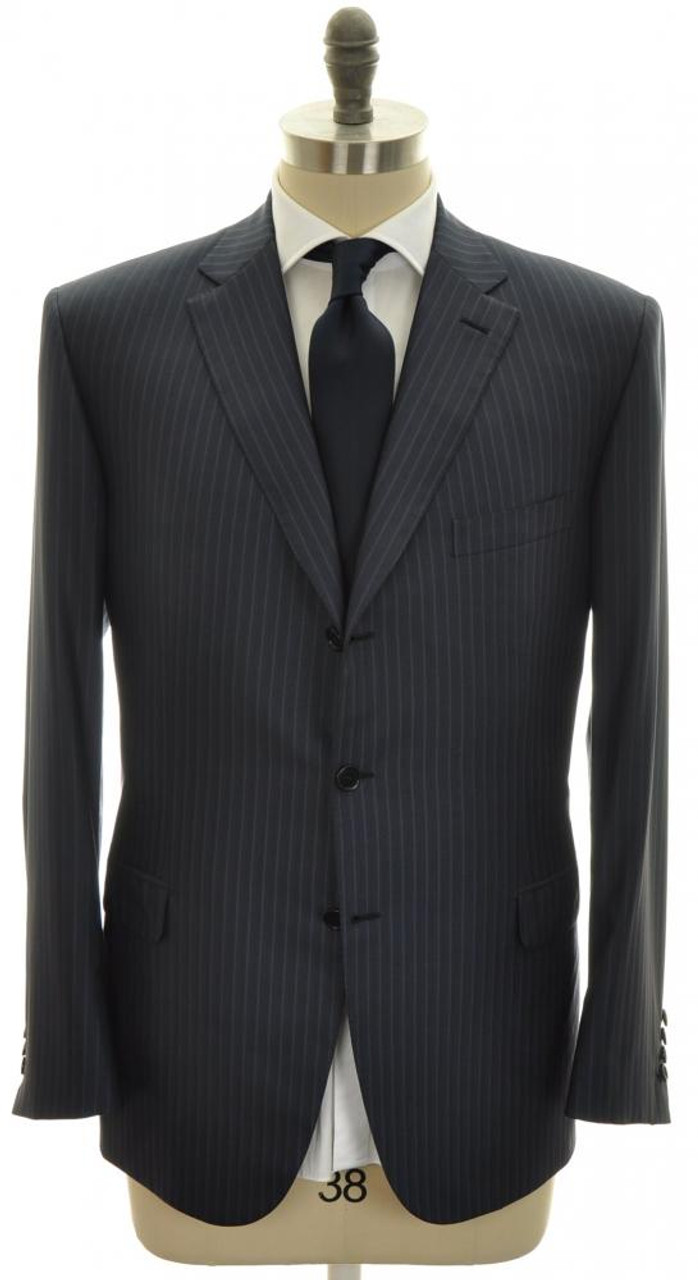 Suit Brunico Luxury Fine Wool Silk 44 54 Blue Stripe