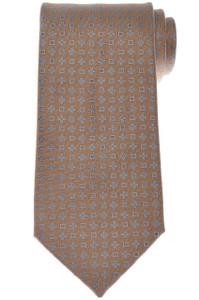 Charvet Tie Silk 56 3/4 x 3 1/2 Brown Blue Geometric 12TI0116