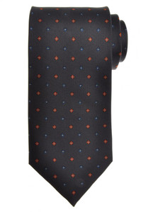 E. G. Cappelli Napoli Tie Silk 57 1/2 x 3 5/8 Gray Brown Geometric 08TI0086