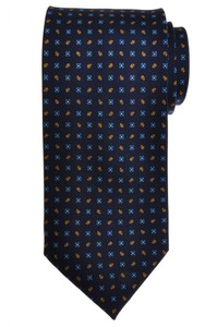 E. G. Cappelli Napoli Tie Silk 58 1/2 x 3 5/8 Blue Geometric 08TI0083