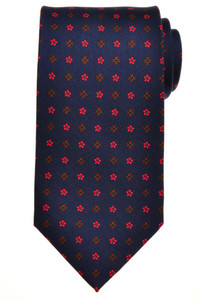 E. G. Cappelli Napoli Tie Silk 58 x 3 5/8 Blue Red Brown Geometric 08TI0106