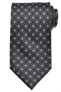 E. G. Cappelli Napoli Tie Silk 58 1/4 x 3 1/2 Gray Blue Geometric 08TI0104