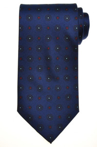 E. G. Cappelli Napoli Tie Silk 59 1/4 x 3 5/8 Dark Blue Geometric 08TI0103