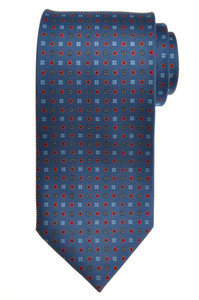 E. G. Cappelli Napoli Tie Silk 58 1/2 x 3 1/2 Slate Blue Geometric 08TI0088