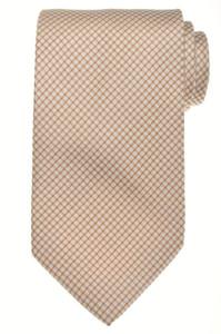 E. Marinella Napoli Tie Silk 57 x 3 5/8 Brown White Geometric 07TI0113