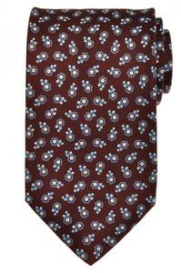 E. Marinella Napoli Tie Silk 56 3/4 x 3 5/8 Brown Blue Geometric 07TI0096