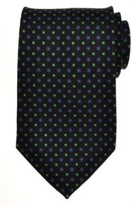 E. Marinella Napoli Tie Silk 57 1/2 x 3 3/4 Black Blue Geometric 07TI0095