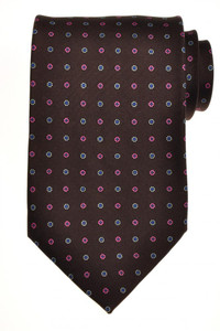 E. Marinella Napoli Tie Silk 57 1/2 x 3 3/4 Brown Blue Geometric 07TI0094