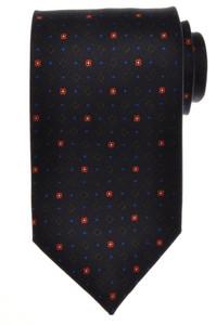 E. G. Cappelli Napoli Tie Silk 59 1/4 x 3 5/8 Blue Green Geometric 08TI0116