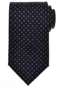E. G. Cappelli Napoli Tie Silk 58 1/4 x 3 3/4 Navy Blue Geometric 08TI0114