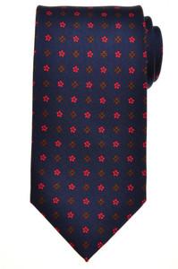 E. G. Cappelli Napoli Tie Silk 57 3/4 x 3 5/8 Blue Red Geometric 08TI0107