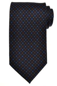 E. G. Cappelli Napoli Tie Silk 58 1/4 x 3 5/8 Blue Brown Geometric 08TI0101