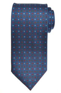 E. G. Cappelli Napoli Tie Silk 58 3/4 x 3 5/8 Slate Blue Geometric 08TI0089