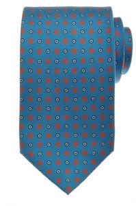 E. G. Cappelli Napoli Tie Silk 58 1/4 x 3 5/8 Blue Red Geometric 08TI0122