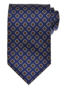 E. G. Cappelli Napoli Tie Silk 58 1/2 x 3 5/8 Blue Brown Geometric 08TI0121