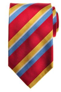 E. Marinella Napoli Tie Silk 57 1/2 x 3 3/4 Red Blue Yellow Stripe 07TI0126