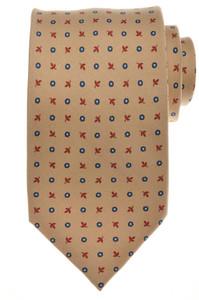 E. G. Cappelli 7 Fold Tie Silk 58 1/2 x 3 5/8 Brown Blue Geometric 08TI0126