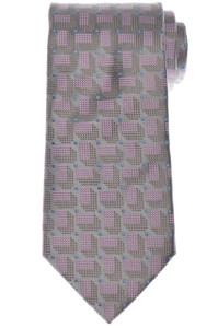 Charvet Tie Silk 57 1/4 x 3 5/8 Gray Pink Blue Geometric 12TI0198
