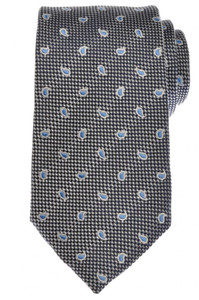 Ermenegildo Zegna Tie Silk 58 3/4 x 3 1/2 Navy Blue White Paisley 10TI0138