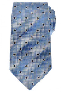 Ermenegildo Zegna Tie Silk 59 x 3 1/2 Blue Navy White Paisley 10TI0137