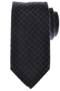 Battisti Napoli Tie Silk Wool 59 x 3 1/4 Blue Black Check 41TI0110