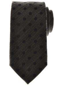 Battisti Napoli Tie Silk Wool 59 x 3 1/4 Green Black Polka Dot 41TI0108
