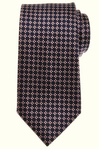 Ermenegildo Zegna Tie Silk 57 x 3 3/8 Navy Blue Pink Geometric 10TI0128