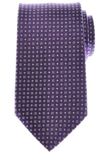 Ermenegildo Zegna Tie Silk 58 x 3 3/8 Purple White Geometric 10TI0162