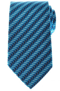 Ermenegildo Zegna Tie Silk 57 3/4 x 3 3/8 Blue Teal Geometric 10TI0181