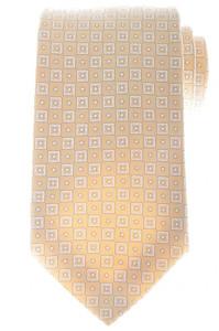Ermenegildo Zegna Tie Silk Cotton 58 x 3 3/8 Beige Brown Geometric 10TI0176