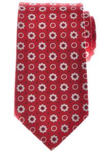 Ermenegildo Zegna Tie Silk 57 3/4 x 3 3/8 Red Blue White Geometric 10TI0171
