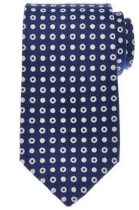 Ermenegildo Zegna Tie Silk 59 x 3 1/4 Blue White Circle Geometric 10TI0166