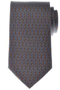 Gucci Tie Silk 57 1/2 x 3 1/4 Blue Brown Geometric Print 19TI0153