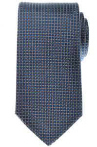 Gucci Tie Silk Woven 57 1/4 x 3 1/4 Blue Brown Geometric 19TI0141