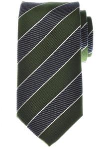 Battisti Napoli Tie Silk 58 1/2 x 3 1/4 Green Gray Blue Stripe 41TI0163