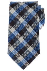 Battisti Napoli Tie Silk 59 1/2 x 3 1/4 Blue Brown White Check 41TI0161