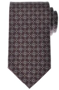 Gucci Tie Silk 57 1/2 x 3 1/4 Brown Geometric Print 19TI0151