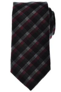 Battisti Napoli Tie Wool Silk 59 x 3 1/4 Black Red Plaid Check 41TI0127
