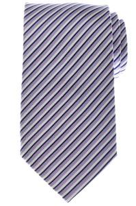 Battisti Napoli Tie Silk 58 3/4 x 3 1/4 Blue Purple White Stripe 41TI0183 $225
