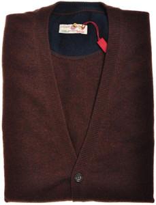 Luciano Barbera Sweater Cardigan Vest Cashmere 50 Medium Brown 48SW0131