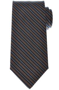 E. Marinella Napoli Tie Silk 57 1/2 x 3 3/8 Blue Orange Stripe 07TI0145