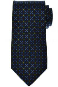 E. Marinella Napoli Tie Silk 57 3/4 x 3 1/2 Blue Green Geometric 07TI0142