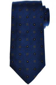 E. Marinella Napoli Tie Silk 57 1/4 x 3 3/8 Blue Gray Geometric 07TI0140