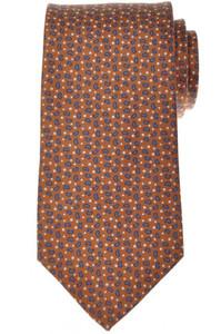E. Marinella Napoli Tie Silk 58 1/4 x 3 1/2 Brown Blue Geometric 07TI0138