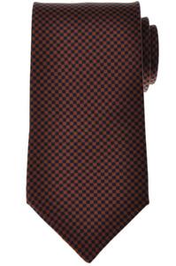 E. Marinella Napoli Tie Silk 57 3/4 x 3 3/4 Blue Brown Geometric 07TI0151