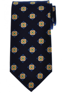 Luigi Borrelli Napoli Tie Silk 58 1/2 x 3 3/8 Blue Geometric 05TI0375