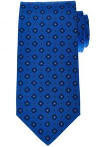 Luigi Borrelli Napoli Tie Silk 59 x 3 3/8 Blue Brown Geometric 05TI0374
