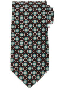 Luigi Borrelli Napoli Tie Silk 58 3/4 x 3 1/4 Brown Blue Geometric 05TI0371